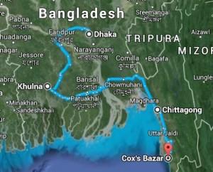 Bangladesh Trip Map